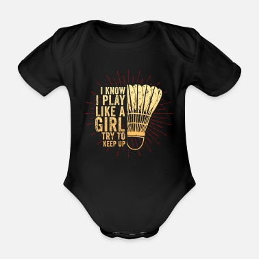 League Game Badminton League Game Sports Tennis Squash Gift - Organic Short-Sleeved Baby Bodysuit