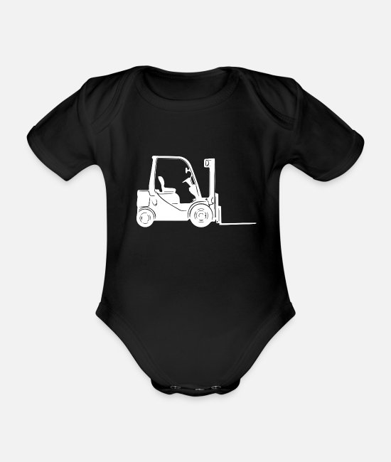 Driver's License Baby Clothes - Forklift driver - Organic Short-Sleeved Baby Bodysuit black