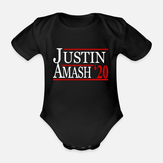Libertarianism Baby Clothes - Justin Amash Libertarian for President 2020 - Organic Short-Sleeved Baby Bodysuit black