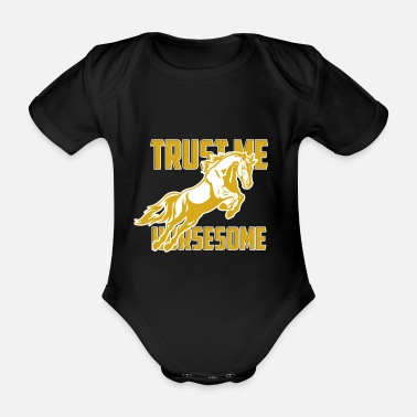 Back Yard Horse riding yard gift - Organic Short-Sleeved Baby Bodysuit