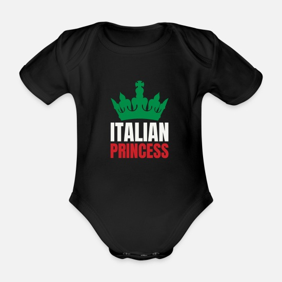Italy Baby Clothes - Italian Princess - Gift for Italian Women or Girls - Organic Short-Sleeved Baby Bodysuit black