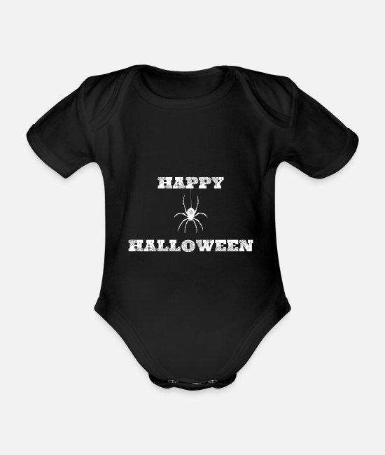 Cobweb Baby Clothes - Happy Halloween Spider Pentacle Spider Gift - Organic Short-Sleeved Baby Bodysuit black