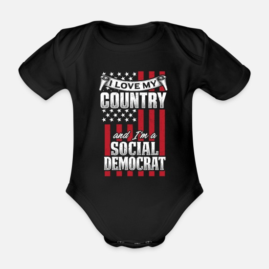 Activist Baby Clothes - Patriot and Democrat Design for 2020 - Organic Short-Sleeved Baby Bodysuit black