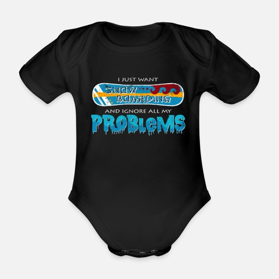 Birthday Baby Clothes - Cool Snowboarding Statement Snowboard Gift - Organic Short-Sleeved Baby Bodysuit black