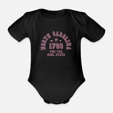North Carolina USA East Coast America College Pink - Organic Short-Sleeved Baby Bodysuit