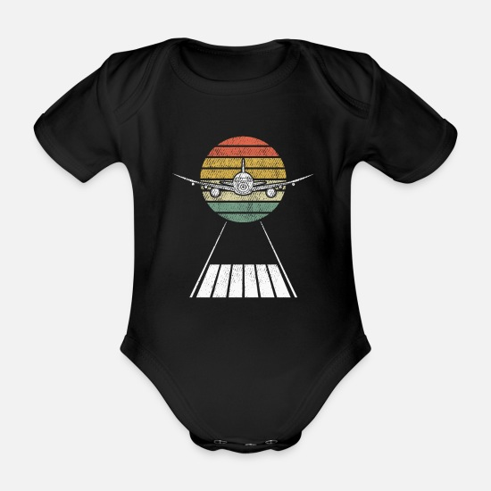 Aviate Baby Clothes - Pilot in the air his fighter pilot fighter plane - Organic Short-Sleeved Baby Bodysuit black