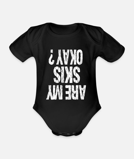 Ski Baby Bodysuits - ski - Organic Short-Sleeved Baby Bodysuit black