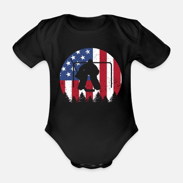 Hockey Ice hockey goalie American Flag 4th of July shirt - Organic Short-Sleeved Baby Bodysuit
