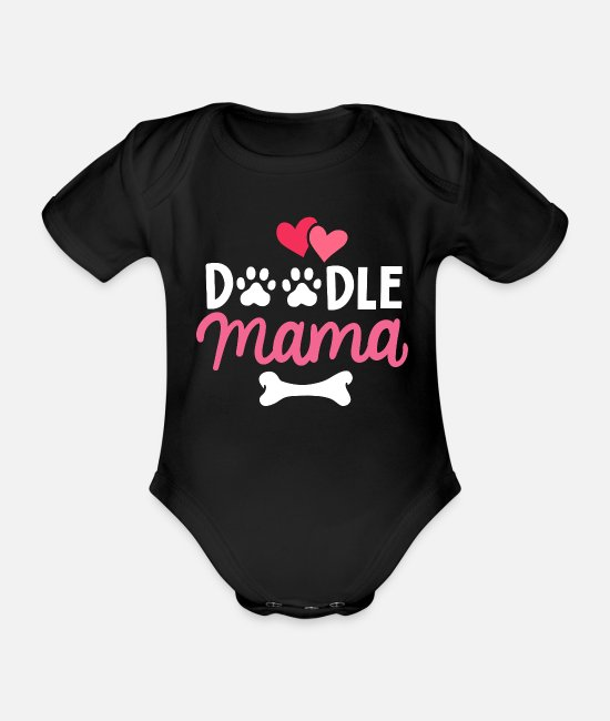Mother Baby Clothes - Labradoodle - Organic Short-Sleeved Baby Bodysuit black