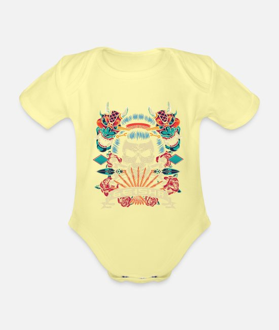 Christmas Present Baby Clothes - Geisha Japan Asia warrior Japanese gift - Organic Short-Sleeved Baby Bodysuit washed yellow