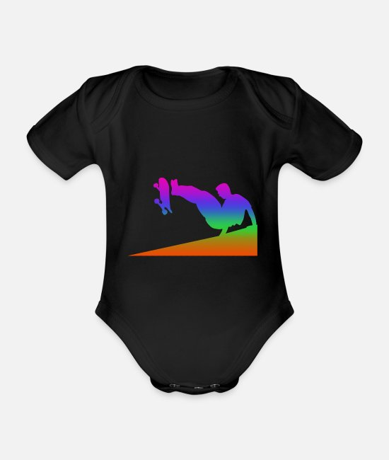Training Baby Bodysuits - Parkour rainbow silhuette - Organic Short-Sleeved Baby Bodysuit black