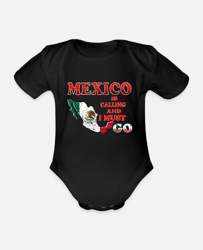 Central America Baby Bodysuits - Mexico - Organic Short-Sleeved Baby Bodysuit black
