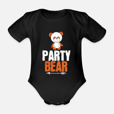 Sweet Animals Strong as a bear - party bear - Organic Short-Sleeved Baby Bodysuit
