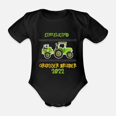 Big Brother Announcement Big Brother Shirt Tractor 2022 - Organic Short-Sleeved Baby Bodysuit