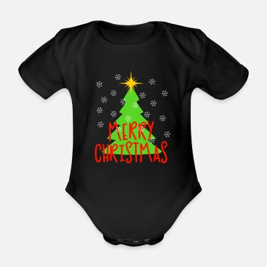 Tree Merry Christmas - Christmas tree with snowflakes - Organic Short-Sleeved Baby Bodysuit