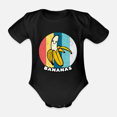Yellow Banana Vintage Fruit Healthy Eating Sport Gift - Organic Short-Sleeved Baby Bodysuit