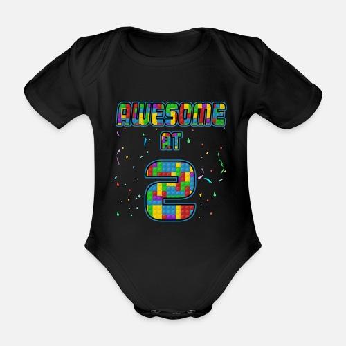 Organic Short Sleeved Baby Bodysuit2nd Birthday Gift Awesome At 2 Years Blocks Brick