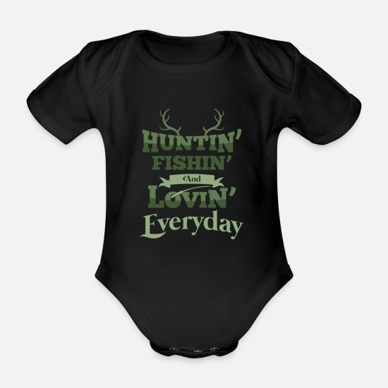 Camping Baby Clothes - Hunter Fishing Gift Deer Hunter Fisher Everyday - Organic Short-Sleeved Baby Bodysuit black