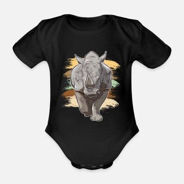 Dive Rhino rhinoceros Africa funny animal look - Organic Short-Sleeved Baby Bodysuit