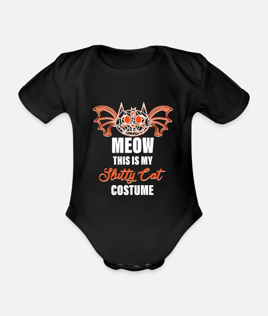 Cobweb Baby Bodysuits - This Is My Slutty Cat Costume - Halloween - Organic Short-Sleeved Baby Bodysuit black