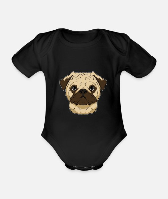 Dog Owner Baby Bodysuits - Funny Pug Dog head Dog gift - Organic Short-Sleeved Baby Bodysuit black