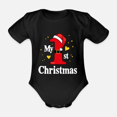 Christmas 1st first christmas gift girl boy cute - Organic Short-Sleeved Baby Bodysuit