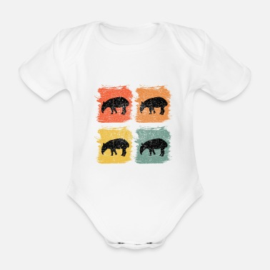 Nature Lovers Tapir Animal Retro Pop Art Gift - Organic Short-Sleeved Baby Bodysuit