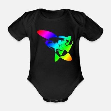 Spiritual Colorful Rainbow Mandalas & Sixties Flower Power - Organic Short-sleeved Baby Bodysuit