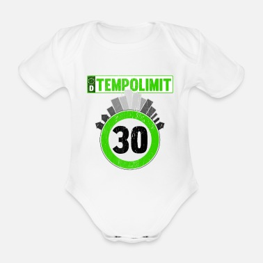 Speed Frenzy Speed limit 30 downtown - Organic Short-Sleeved Baby Bodysuit