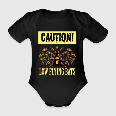 Caution low flying bats - Halloween Scary Creepy - Organic Short-sleeved Baby Bodysuit