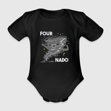 Prins 4th Birthday Four Boy Girl 4 Fournado Gift - Ekologisk kortärmad babybody