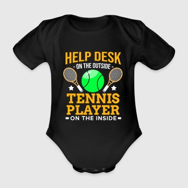 Windows joueur de tennis Racket Ball Match Court Help Desk - Body bébé bio manches courtes