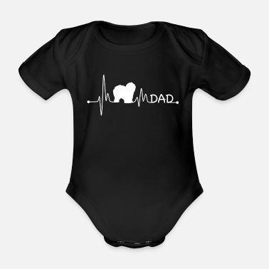 Funny Quotes Heartbeat Pulse Line English Sheepdog Dad Dog Gift - Organic Short-sleeved Baby Bodysuit