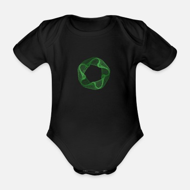 Spirograph: 5-sided, normal, pointed - Organic Short-Sleeved Baby Bodysuit