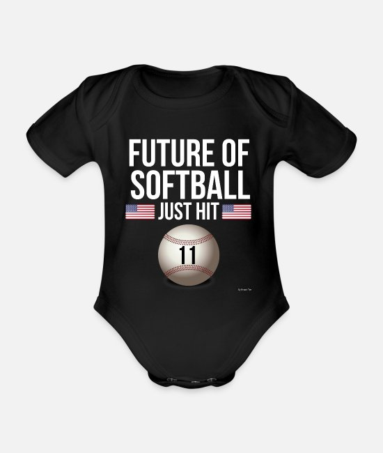 11 Baby Bodys - Gute zum Geburtstag Future Of Softball Just Hit 11 - Baby Bio Kurzarmbody Schwarz