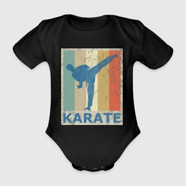 Retro Vintage Style Karate Martial Arts - Organic Short-sleeved Baby Bodysuit