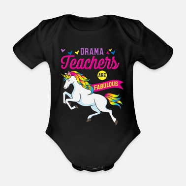 Theater Teachers Theater Unicorn - Organic Short-Sleeved Baby Bodysuit