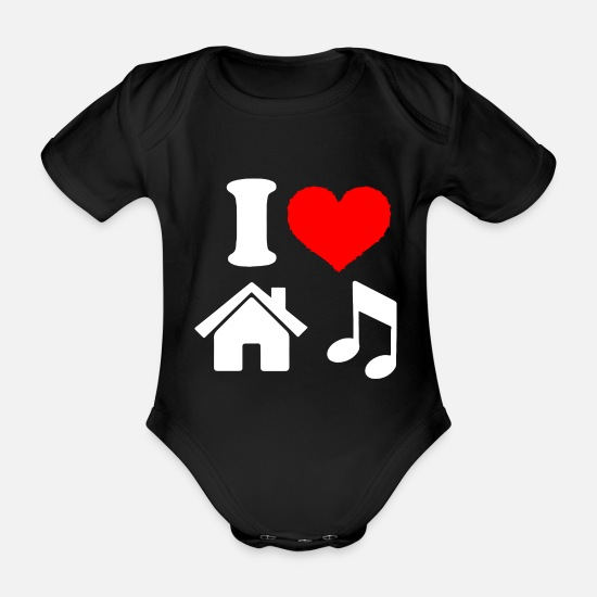 House Music Baby Clothes - I Love House Music - Organic Short-Sleeved Baby Bodysuit black