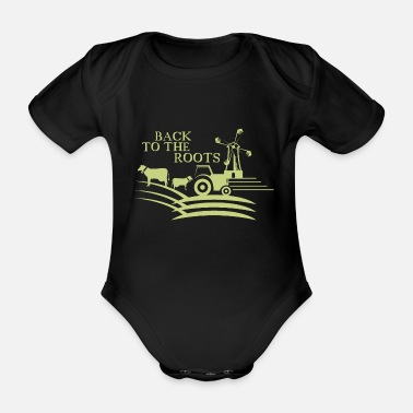 Root Crop back to the roots agriculture farm - Organic Short-Sleeved Baby Bodysuit