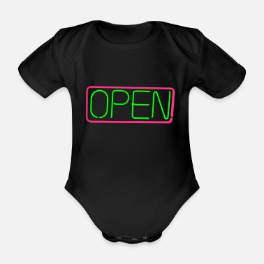Open open opened sign vector - Organic Short-sleeved Baby Bodysuit