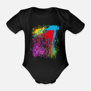 Color Colors, bright colors, colorful - Organic Short-Sleeved Baby Bodysuit