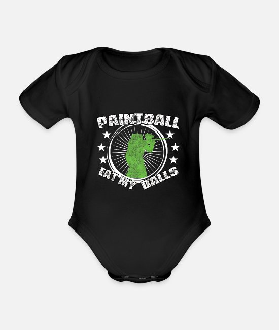 Gotcha Baby Clothes - Paintball Eat my Balls funny statement - Organic Short-Sleeved Baby Bodysuit black