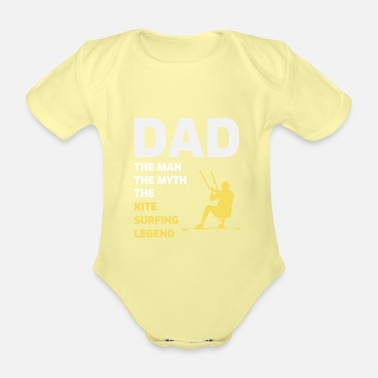 Wind Kitesurfing Dad Kite Kiteboard Fathers Day Gift - Organic Short-Sleeved Baby Bodysuit