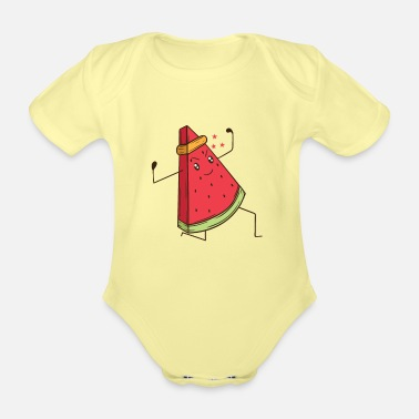 Karate Watermelon does martial arts karate - Organic Short-Sleeved Baby Bodysuit