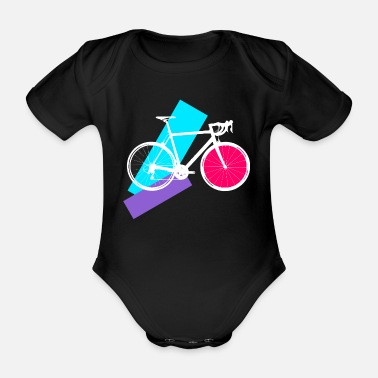 graphic road bike with pink, purple and light blue - Organic Short-Sleeved Baby Bodysuit