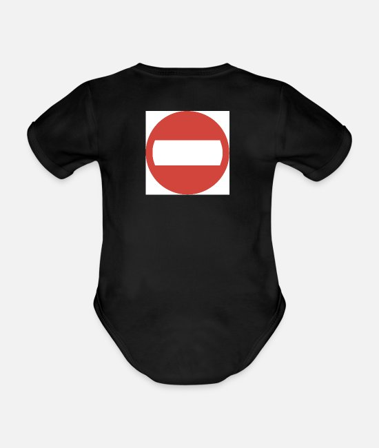 Road Sign Baby Bodysuits - No Entry - Organic Short-Sleeved Baby Bodysuit black