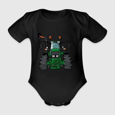 0175 Green tractor - Organic Short-sleeved Baby Bodysuit