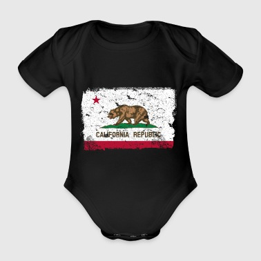 California vintage flag - Organic Short-sleeved Baby Bodysuit