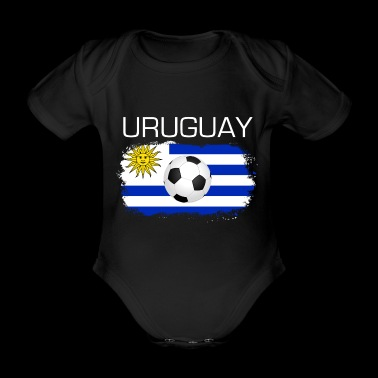 Uruguay soccer fan flag gift idea - Organic Short-sleeved Baby Bodysuit