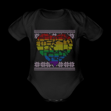 Ugly Sweater LGBT Gay Pride Design - Organic Short-sleeved Baby Bodysuit